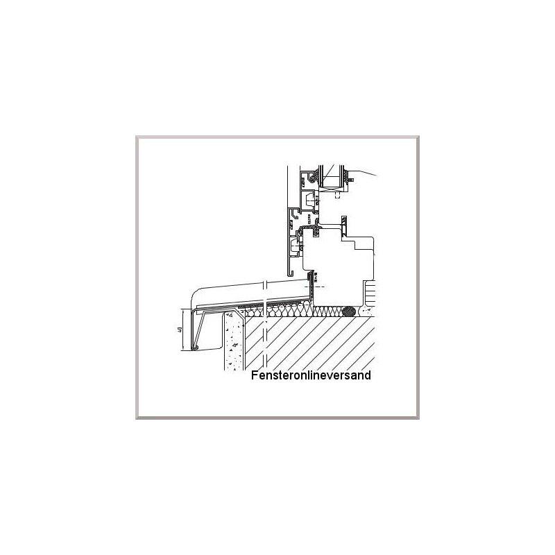 Aluminium Fensterbank RAL 7016 Anthrazitgrau 150 mm Ausladung Fensterbrett Alu